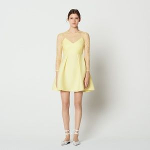Sandro Yellow Honeycomb Fabric & Lace Formal Dress